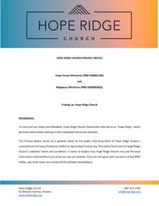 thumbnail of Hope Ridge Privacy Notice 2021